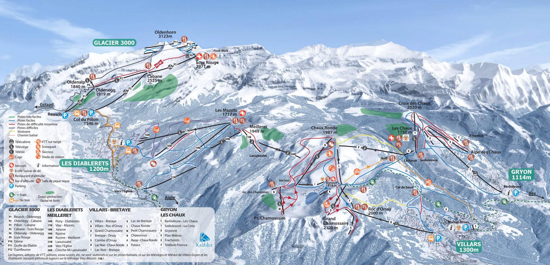 Plan des pistes villars gryon les diablerets - Office tourisme diablerets ...