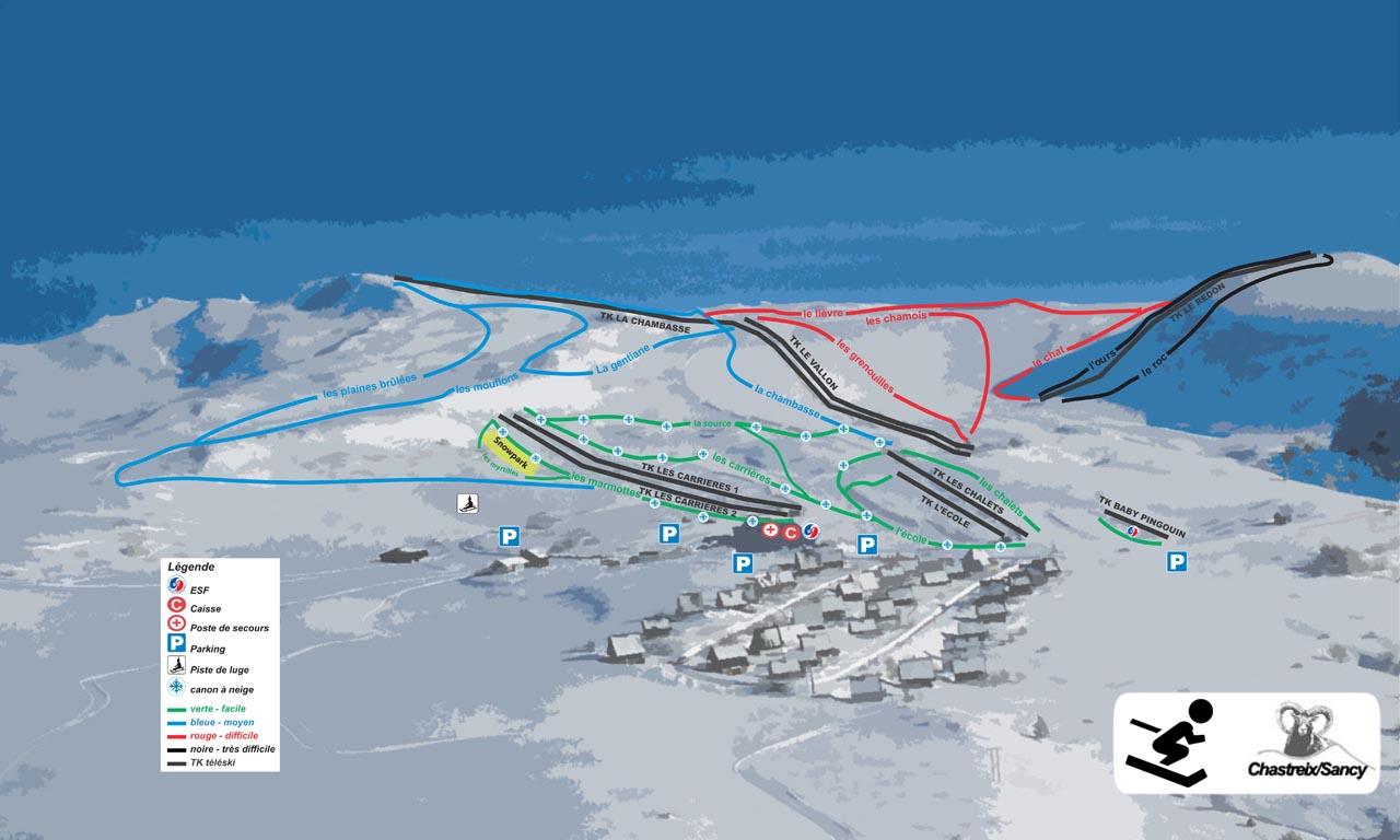 Plan des pistes chastreix puy de sancy - Office du tourisme super besse ...